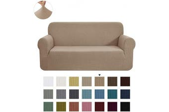 (Large, Camel) - CHUN YI Stretch Sofa Slipcover 1-Piece Couch Cover Furniture Protector, 3 Seater Coat Soft with Elastic Bottom, Cheques Spandex Jacquard Fabric, Large, Camel