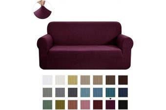 (Medium, Dark Magenta) - CHUN YI Stretch Loveseat Sofa Slipcover 1-Piece Couch Cover Furniture Protector, 2 Seater Coat Soft with Elastic Bottom, Cheques Spandex Jacquard Fabric, Medium, Dark Magenta