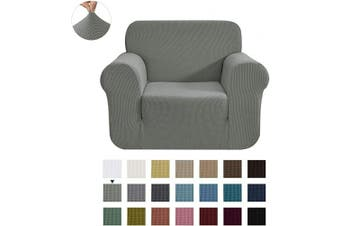 (Small, Dove Gray) - CHUN YI Stretch Chair Sofa Slipcover 1-Piece Couch Cover Furniture Protector, 1 Seater Coat Soft with Elastic Bottom, Cheques Spandex Jacquard Fabric, Small, Dove Grey