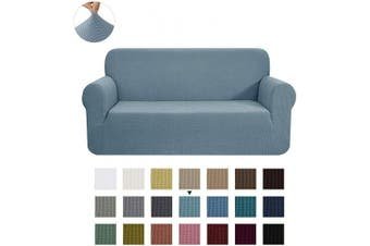 (Medium, Smoky Blue) - CHUN YI Stretch Loveseat Sofa Slipcover 1-Piece Couch Cover Furniture Protector, 2 Seater Coat Soft with Elastic Bottom, Cheques Spandex Jacquard Fabric, Medium, Smoky Blue