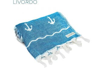 (Large, Ancora - Turquoise) - Livordo Turkish Towel Beach Soft, Absorbent 100% Cotton Made in Turkey Quick Dry Lightweight Bath Sheet, Sarong, Pareo, Wrap, Pestemal, Scarf, Spa, Yoga, Gym, Hiking, Camping(Turquoise)