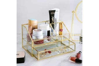 (gold) - Makeup Organiser, Cosmetic and Jewellery Display Boxes with Drawers (gold))