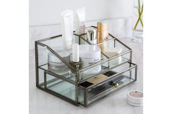 (black) - Makeup Organiser, Cosmetic and Jewellery Display Boxes with Drawers (black)