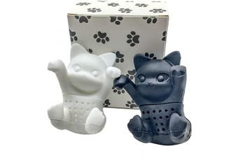 Tea Infuser Gift Set for Loose Leaf & Herbal Tea, Funny and Cute Silicone Cat Tea Strainer Pair in Unique Gift Box, Best Couples Gift, Set of 2, Black and White kit-tea