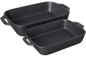 (2-piece, Matte Black) - STAUB 40508-084 Ceramics Rectangular Baking Dish Set, 2-piece, Matte Black
