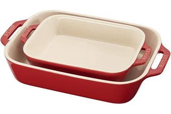 (2-piece, Cherry) - STAUB 40508-627 Ceramics Rectangular Baking Dish Set, 2-piece, Cherry