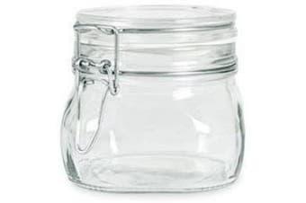 Bormioli Rocco Fido Italian Glass Facet Storage Canning Jars -.5 Litre