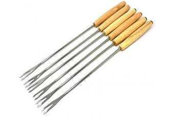 (Oak Wood Handle) - Antrader Set of 6 Cheese Fondue Forks, Stainless Steel for Chocolate Fountain Cheese Fondue, Barbecue Skewers Roasting Sticks with Oak Wood Handle Heat Resistant 24cm Long