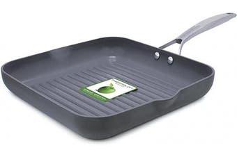 (Gray) - GreenPan Paris 28cm Ceramic Non-Stick Square Grill Pan, Grey - CC000042-001
