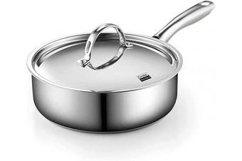 (3.5 Quart) - Cooks Standard 02674 Classic Stainless Steel Deep Saute Pan with Lid, 3.3l, Silver
