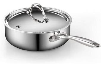 (3.3l) - Cooks Standard 02675 Multi-Ply Clad Deep Saute Pan with Lid, 3.3l, Silver