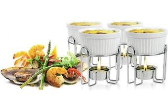 (4, White) - Artestia Ceramic Butter Warmer Set for Seafood (4, white)