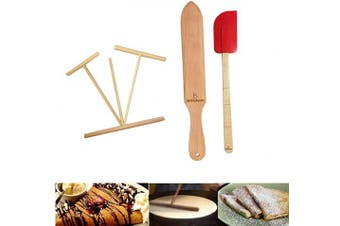 Wooden Crepe Spatula and spreaders Wooden Spatula Set Perfect Size to Fit Medium Crepe Pan 100% Natural Beechwood Crepe Spreader and Spatula for Cooking (L set)