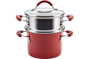 (2.8l, Cranberry Red) - Rachael Ray 16800 Cucina Nonstick Sauce Pot/Saucepot with Steamer Insert and Lid, 2.8l, Cranberry Red