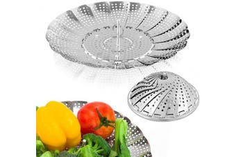 Sayfine Vegetable Steamer Basket, Premium Stainless Steel Veggie Steamer Basket - Folding Expandable Steamers to Fits Various Size Pot (15cm - 27cm )
