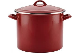 (Sienna Red) - Ayesha Curry 46951 Enamel on Steel Stock Pot/Stockpot with Lid - 11.4l, Red
