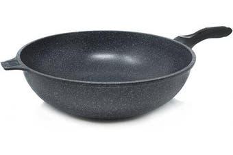 (34cm ) - Alpha Nonstick Marble Stone Coating Wok Pan, 34cm PFOA FREE