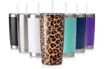 (1 Pack, Leopard) - Civago 590ml Insulated Stainless Steel Tumbler, Coffee Tumbler with Lid and Straw, Double Wall Vacuum Travel Coffee Mug, Powder Coated Tumbler Cup (Leopard, 1 Pack)