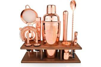 (Copper) - Bartender Kit Copper 11 Piece - Copper Parisian Cocktail Mixology Set - Rose Gold Shaker With Muddler, Pourers, Strainer & Twisted Bar Spoon