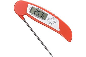 (Reds) - Bonsenkitchen Digital Thermometer Instant Read Meat Themometer for Grilling, Barbecue and Heated Liquid Drinks, Digital LCD Display, Collapsible Stainless-Steel Long Probe, Red (ST8731)