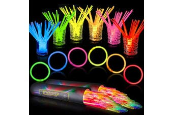 200 PCS Glow Stick Bracelets Glow in the Dark Sticks with Connectors Perfect for Birthday Parties, Party Favours, Camping Trips, July 4th, Christmas