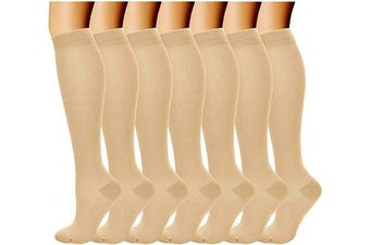 (7 Pairs(beige), L-XL) - Compression Socks (7 Pairs) for Women & Men-for Medical, Nursing, Running & Fitness, Edoema, Diabetic, Varicose Veins, Travel & Flight, Pregnancy, Nurses-Blood Circulation & Recovery (Beige, L/XL)
