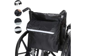 PERFETSELL Wheelchair Backpack Multifunction Wheelchair Bag Outdoor Wheelchair Backpack Storage Bag Mobility Scoote Large Capacity Accessory Carry Pouch for Most Wheelchair/Scooter/Rollator (Black)