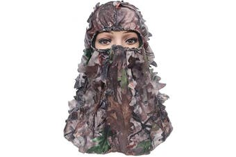 (Maple) - ABCAMO Ghillie Camouflage Leafy Hat Full Face Mask Turkey Realtree Camo Outdoor Sport Hunting Hat