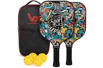 (Hand Drawn Doodles + 3 outdoor balls +1 indoor ball+ bag) - Vinsguir Pickleball Paddle - 2 Premium Graphite Rackets Honeycomb Composite Core with Cushion Comfort Grip & 4 Balls & Portable Racquet Bag