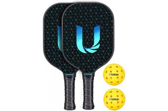 (2) - Uteeqe Pickleball Paddles Graphite Pickleball Paddle Set Lightweight Texture Surface Polymer Honeycomb Core Pickleball Racket Cushion Comfort Contour Grip Low-Profile Edge Guard Pickleball Racquet