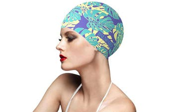 (Green) - BALNEAIRE Silicone Swim Cap for Women, Waterproof Long Hair Swimming Caps Leaf Printed