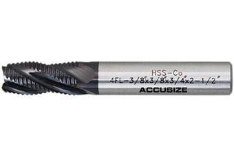 (1cm  Dia, 1cm  Shk Dia, 1.9cm  Flt Length) - Accusize Industrial Tools 1cm Fine Tooth M42 8% Cobalt Tialn Roughing End Mill, 1cm Shk Dia, 1.9cm Flute Length, 5.1cm - 1.3cm Oal, 4 Flute, 1104-0038