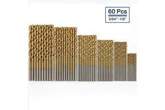 (60 Pcs) - COMOWARE Titanium Twist Drill Bit Set - 60 Pcs High Speed Steel Jobber Drill Bits for Metal, Steel, Wood, Plastic, Copper, Aluminium Alloy, 0.1cm - 0.3cm