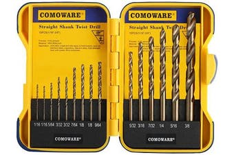 (15 pieces Cobalt) - COMOWARE Cobalt Drill Bit Set- 15Pcs M35 High Speed Steel Twist Jobber Length for Hardened Metal, Stainless Steel, Cast Iron and Wood Plastic with Indexed Storage Case, 0.2cm - 1cm