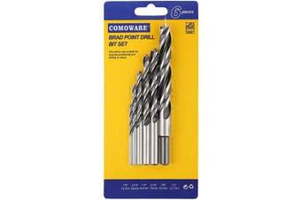 (Brad Point Drill Bits) - COMOWARE Brad Point Drill Bits Set- 6 Pcs Wood Drill Bits