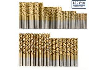 (120 Pcs) - COMOWARE 120 Pcs Titanium Drill Bit Set- HSS Drill Bits for Metal, Steel, Wood, Plastic, Copper, Aluminium Alloy, 1 mm to 3.5 mm