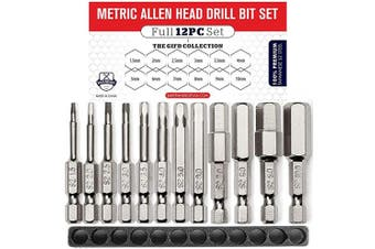 (ALLEN (METRIC)) - Metric Allen Wrench Drill Bit Set (PREMIUM 12pc COMPLETE SAE SET) /w Storage Case and Bit Holder - 1.5mm - 10mm Hex Shank Magnetic Bit Set - THE GIFD COLLECTION - S2 Steel - Long 2in Drive Heads