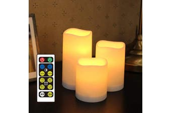 (Yellow) - WRalwaysLX Flameless Candles with Timer,LED Flickering Candles with Remote Control, Battery Candles Outdoor and Indoor Home Decor, Set of 3, 6.4cm D X4 H by 3AAA Batteries(not Included)