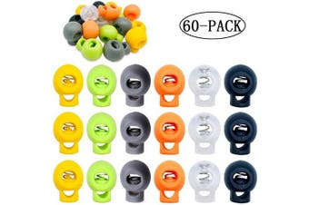 (Orange+Clear+Green+Yellow+Black+Gray/Army Green(2 colors random)) - ACKLLR 60 Pcs Plastic Cord Locks, Single Hole End Spring Toggle Stopper Slider for Drawstring Backpack Rucksack Craft Supplies - 6 Colours