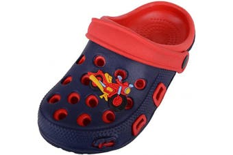 (2 UK Child, Navy Red) - Childrens/Kids/Girls/Boys Holiday/Beach/Pool/Garden Clogs/Sandals/Mules