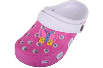 (13 UK Child, Pink White) - Childrens/Kids/Girls/Boys Holiday/Beach/Pool/Garden Clogs/Sandals/Mules