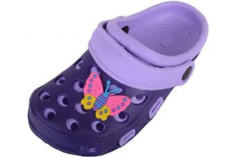 (12 UK Child, Purple) - Childrens/Kids/Girls/Boys Holiday/Beach/Pool/Garden Clogs/Sandals/Mules