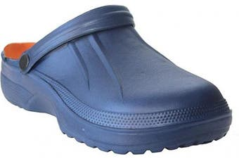 (7 UK, Navy) - Mens Lightweight Garden Nurse Summer Beach Kitchen Clogs Mules Shoes UK Sizes 7-11