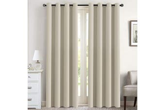 (130cm W x 240cm L, Cream) - Flamingo P Blackout Curtains for Living Room Window Treatment Blackout Thermal Insulated Room Darkening Solid Grommet Curtains/Drapes for Bedroom (Set of 2 Panels, 130cm by 240cm Long, Cream)