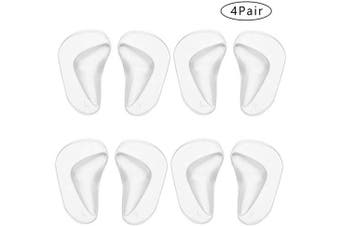 (4 Pairs Clear) - BHAHAI 4 Pairs Gel Arch Support Insoles, Silicone Orthopaedic Flat Feet Orthotic Arch Support Insoles Plantar Fasciitis Shoe Arch Support Gel High Heel Inserts Cushion Pads for Women Men (White)