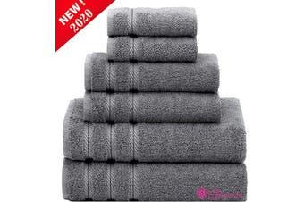 "(6 Pcs set, Pinstripe Grey) - Denmark Soft Linen Premium, 6 Piece Kitchen and Bathroom Egyptian Cotton Towel Set , [Worth $72.95] - ""Pinstripe Grey"" (2 King Size Bath Towel , 2 Hand Towels , 2 Face Towels, 2 Face Towels"