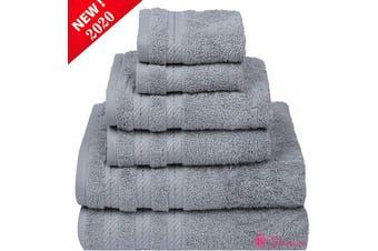 "(6 Pcs set, Grey Violet) - CASA COPENHAGEN Denmark Soft Linen Premium, 6 Piece Kitchen and Bathroom Egyptian Cotton Towel Set, [Worth $72.95] -""Grey Violet (2 King Size Bath Towel, 2 Hand Towels, 2 Face Towels, 2 Face Towels"