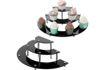 (Black 6-piece Set) - MyGift 6-Piece Set Black Acrylic Semicircle Server Cupcake Dessert Display Stand, Tabletop Collectible Showcase Risers