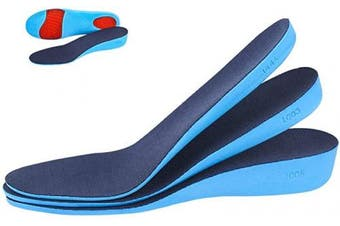 (3.6cm(S:3-7UK), Blue) - Increasing Insole Elastic Shock-absorbing Height Increasing Sports Shoe Insert or Men and Women Comfortable Breathable Replacement Insoles