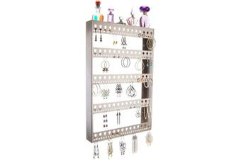(Nichole 22x14.5 X-Large with Shelf, Satin Nickel Silver) - Angelynn's Large Long Dangle Hoop Earring Holder Jewellery Organiser Wall Display Closet Storage Rack Shelf, Nichole Satin Nickel Silver